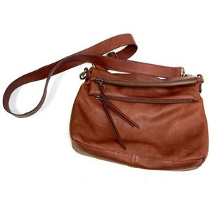Margot | Mickey Double Zip Cognac Hobo Leather